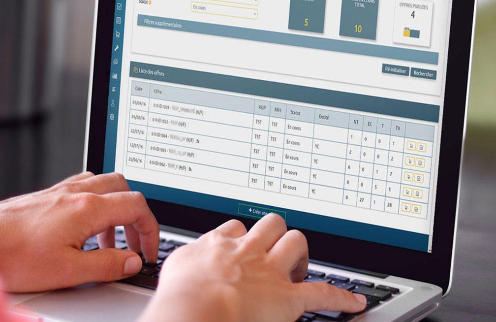 Les 4 raisons d'adopter un logiciel de recrutement: Écran de démonstration du logiciel ScopTalent.